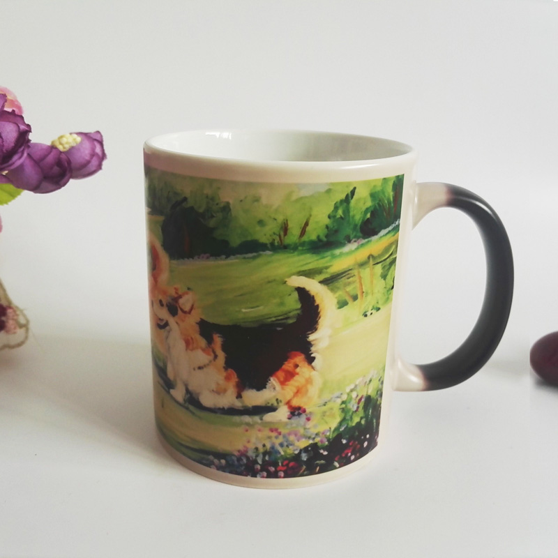 Drop shipping Lovely dogs Color Changing Mug cup Ceramic Heat sensitive Magic Coffee cups Morphing Tea mugs(China (Mainland))