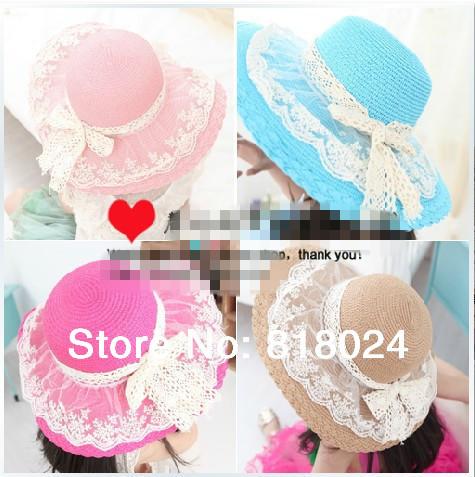 В розницу кружево цветочные брим девочки соломы вс шляпы с бантом Sunhats для малыша широкий Floopy широкими полями пляж шляпа дети лето шапки