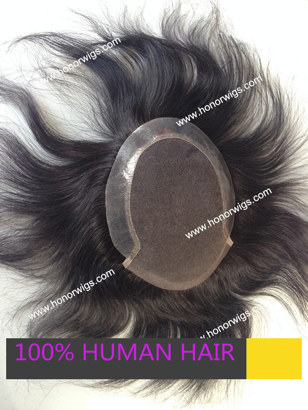Fast delivery 6 inches natural color brazilian remy #1B men toupee in stock <br><br>Aliexpress