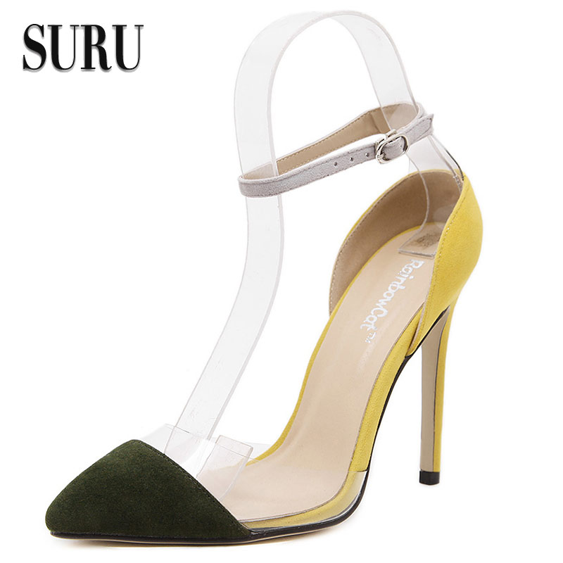 SURU - transparent PVC summer high heels for women shoes , ankle strap pointy toe mixed colors pumps JJC08<br><br>Aliexpress