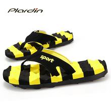 Plardin 2016 Bumblebee Men Flip Flops Authentic Massage Slippers Men's Sandals Beach Flip Flops Shoes Man Sandals For Men
