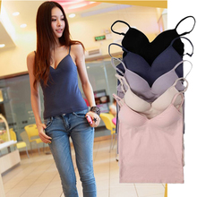 Padded Women Solid Sweet Stylish Sexy Strap Casual Sleeveless Tops Camisole Black/White/Purple/Pink/Beige/Blue(China (Mainland))