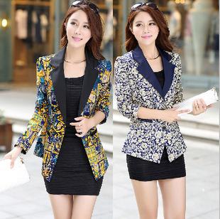 Пиджак женщин весной 2015 новые женские европейский стиль сада цветок принт куртка ...