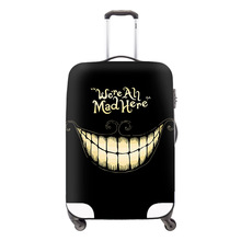 Fashion 3D Skull Travel Accessories For Boys We're all mad here Suitcase Protective Cover Supply For 18 to 30 inch Luggage Cover(China (Mainland))