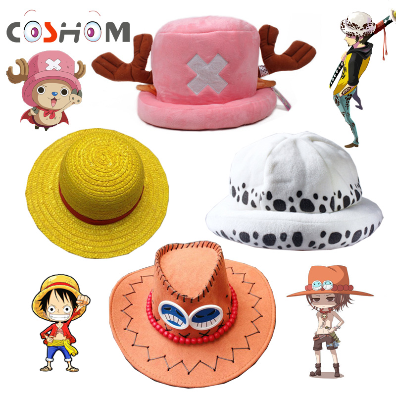 Coshome One Piece Luffy Yellow Straw Boater Beach Hats Tony Chopper Trafalgar Law White Plush Cap Ace Orange West Cowboy Hats(China (Mainland))