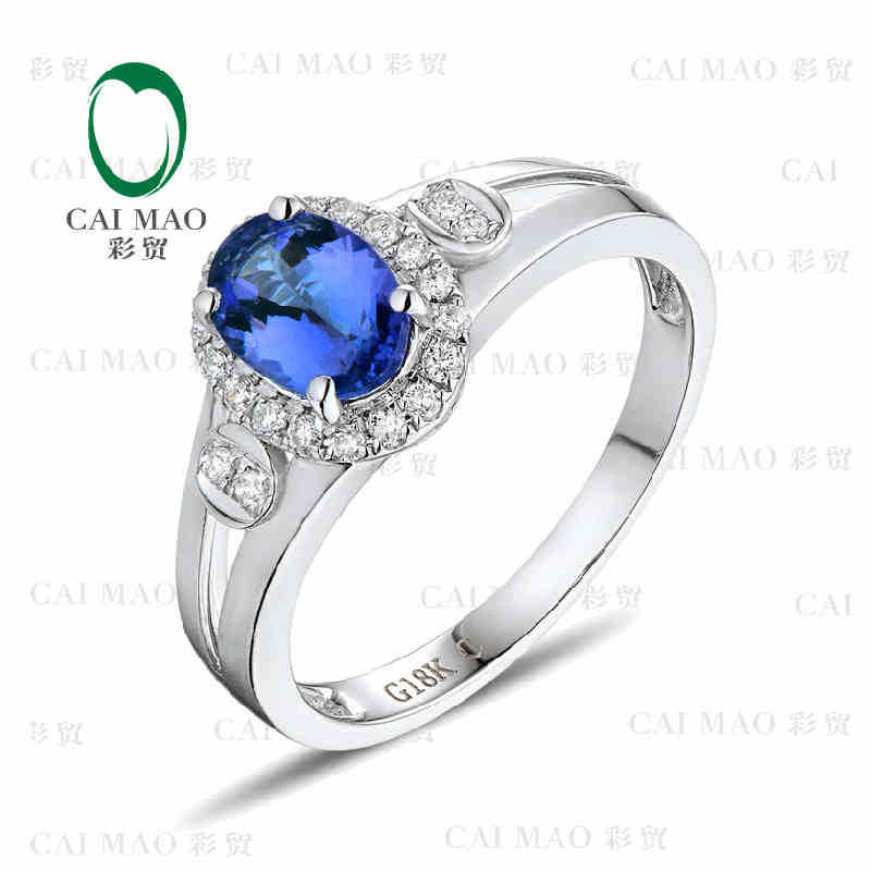CaiMao 18KT/750 White Gold 1.05 ct Natural IF Blue Tanzanite AAA 0.16 ct Full Cut Diamond Engagement Gemstone Ring Jewelry<br><br>Aliexpress