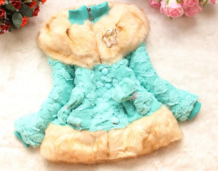 Fashion baby Girls faux fur coat Autumn/Winter Clothes Children Toddler kids Sweet worm outerwear jacket beautiful coat(China (Mainland))