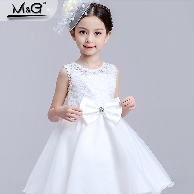 2016 New white bow lace kids dresses for girls snow queen tulle silk flower girls dresses for party and wedding princess costume(China (Mainland))
