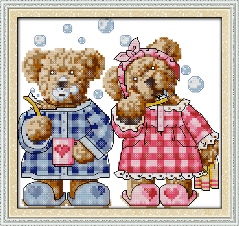 The brushing teeth teddy bear, counted printed on fabric DMC 14CT 11CT Cross Stitch kits,embroidery needlework Sets, Home Decor(China (Mainland))