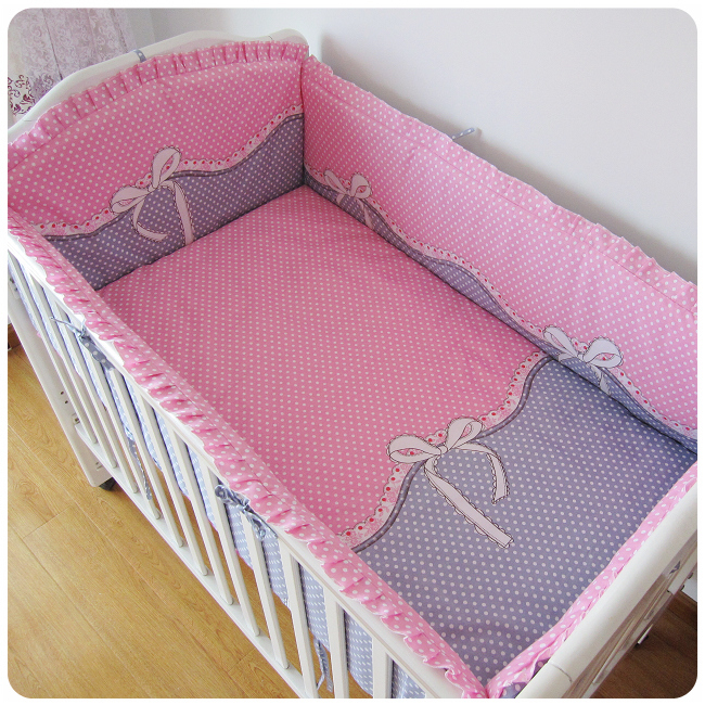 Promotion! 6PCS crib bedding set kit bed around pillow cot nursery bedding kit berco baby bed (bumpers+sheet+pillow cover)<br><br>Aliexpress