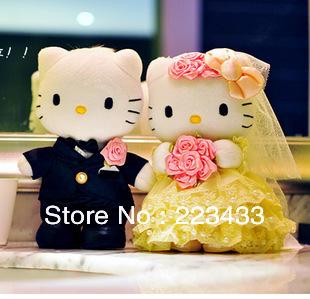 M'lele Wedding Couple Hello Kitty Stuffed Plush Toy, 30cm, 2pieces=1pair wedding gifts christmas gift gifts(China (Mainland))