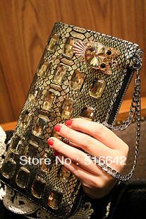 serpentine pattern day clutch rhinestone diamond owl clutch banquet bag genuine leather handbag women's cowhide free shipping