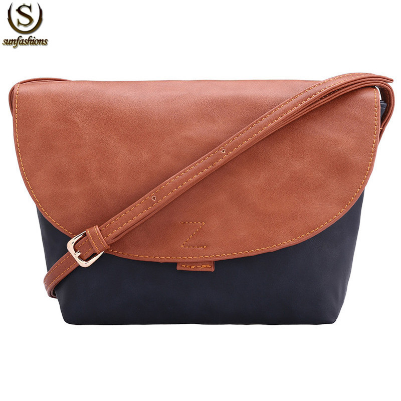 Ladies New Arrival European Style Designer High Street PU Leather Fashionable Vintage Female Color-block Shoulder Bag(China (Mainland))