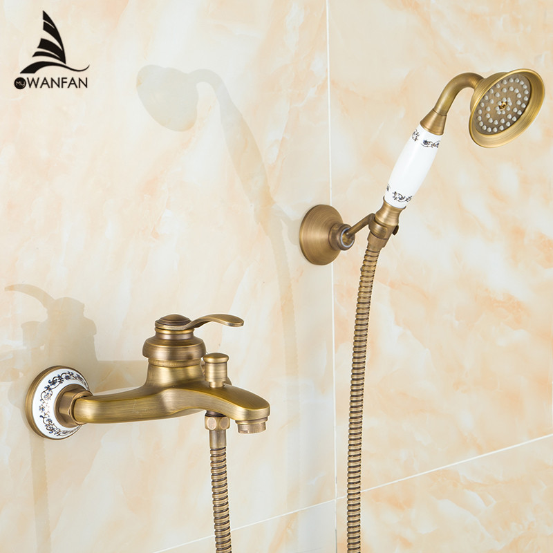 Free Shipping New Arrival Antique Brass Shower Set Faucet Bath Tub Mixer Tap Single Handle