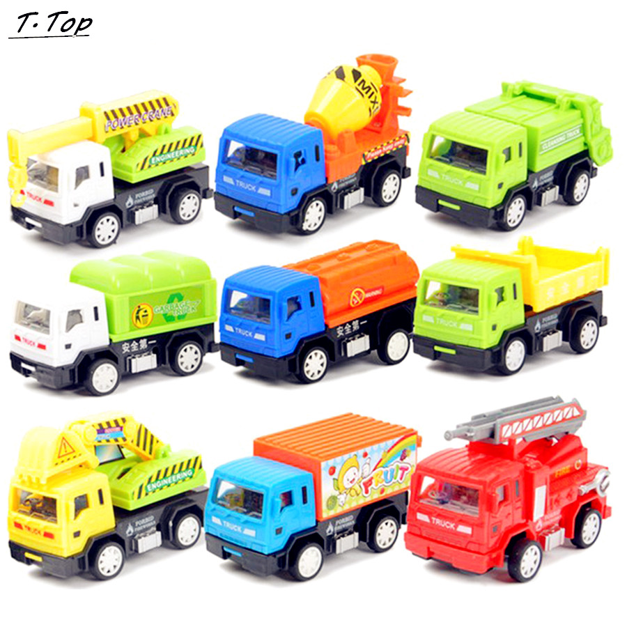Diecast Multi Kinds Cartoon Mini Pull Back Plastic Car Truck Model Gift For Children Kids Funny Toy(China (Mainland))