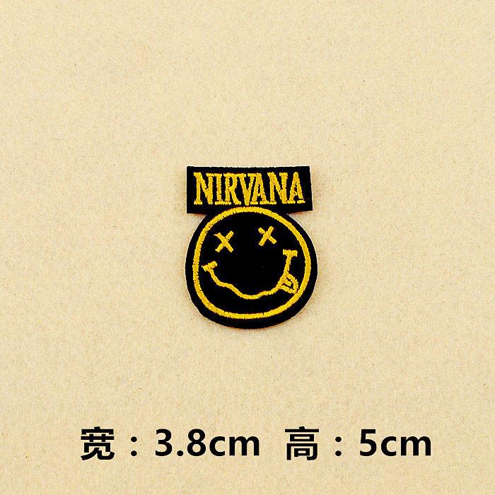 NIRVANA (Size:3.8x5.0cm/ 4.2X5.3cm) Cloth Badge Mend Decorate Patch Jeans Jackets Bag Clothes Apparel Sewing Decoration Applique