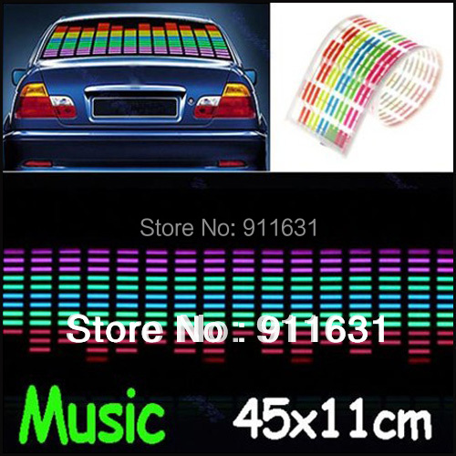 45cm X 11cm Car 12V Led Sound music Activated Stickers Equalizer Glow LED Colourful Flash Car Sticker Light