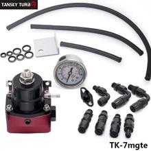 Tansky - Universal combustible ajustable regulador de presión de aceite Kit 0-160psi Universal negro + rojo - 6AN Fit Kit del refrigerador de aceite TK-7mgte(China (Mainland))