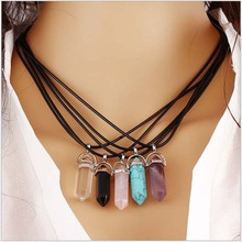 New Fashion Multi Color Quartz Necklaces Pendant Necklace Chain Crystal Pendant Necklace Women Jewelry Accessories