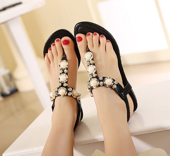 2016 New Korean Rhinestone Sandals Women Bohemian Beaded Large Size Shoes Woman 34-40<br><br>Aliexpress