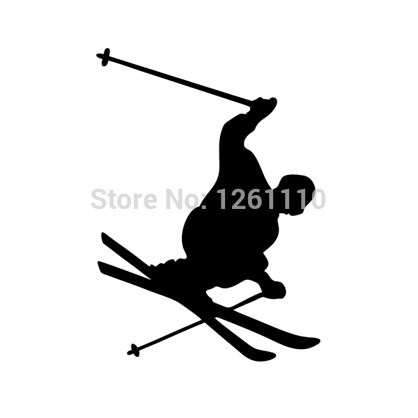 40 pcs/lot EURO OVAL VINYL CAR DECAL Sticker Skier Skiing Jump Turn Skis Pole Male SUV Truck Decals Window Bumper 8 Colors<br><br>Aliexpress