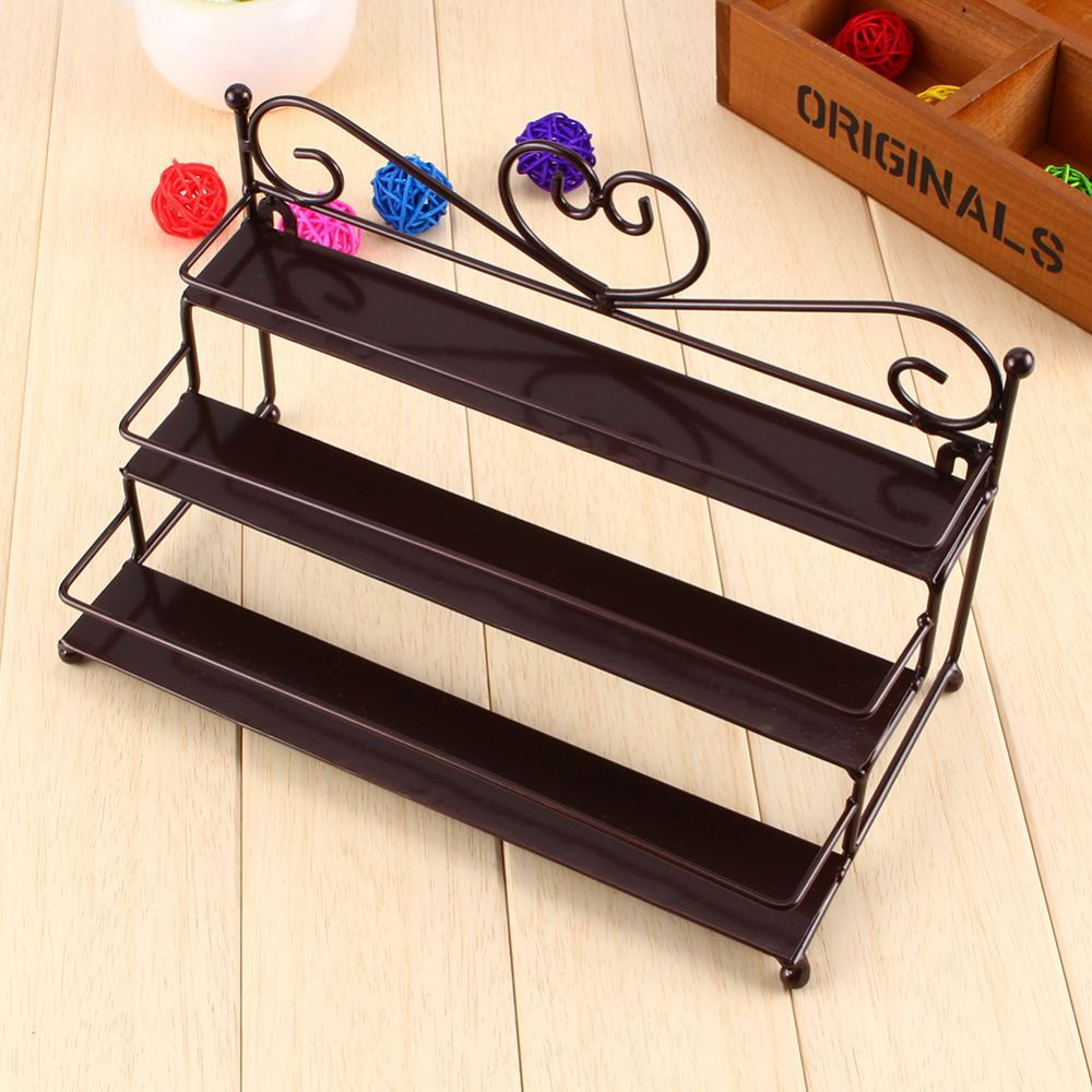 Oversea Hot Sale Useful 3 Tier Metal Heart Nail Polish Display Wall Rack Organizer Stand Holder 3 Colors Available(China (Mainland))
