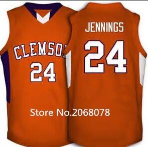 #24 Milton Jennings Clemson Tigers Basketball Jersey orange,stitched name and number,custom MIZZOU any sizes(China (Mainland))