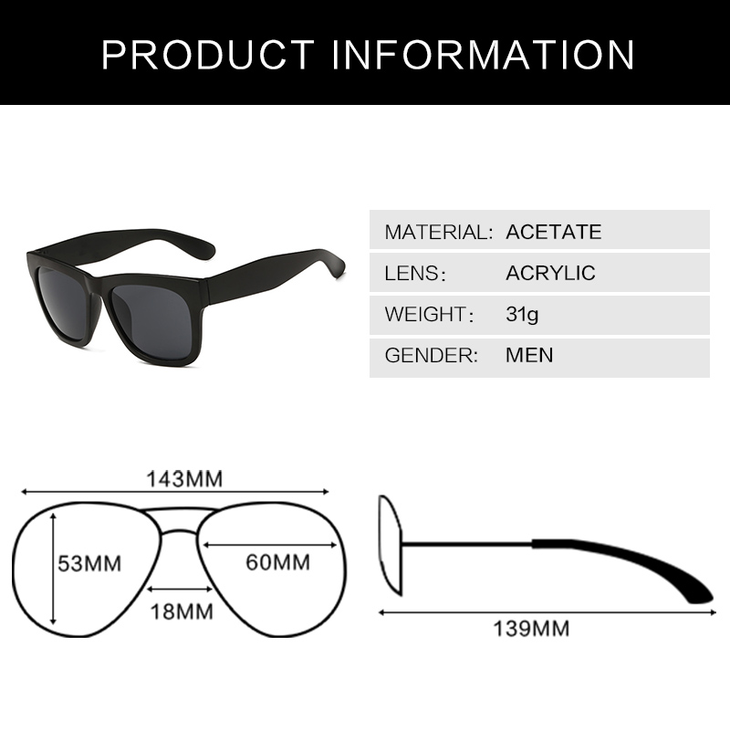 Retro Wayfarer Sunglasses Men Male Oversize Multicolor Sun Glasses Men Eyewear Vintage 2015 Brand Oculos de