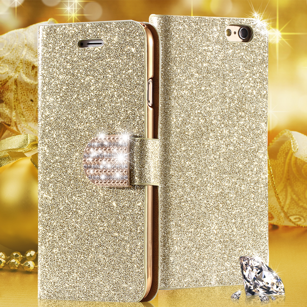 Luxury Shiny Diamond Full PU Leather Case For Apple Iphone 5 5s Cover With Safe Buckle Cell Phone Bling Case For Iphone5(China (Mainland))