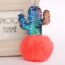 14 cores Pompom Bola da Chave de Cadeia De Pelúcia Fofo Bonito Lantejoulas Cactus Artificial Chaveiro de Pele De Coelho Mulheres Saco Anel Chave Do Carro(China)