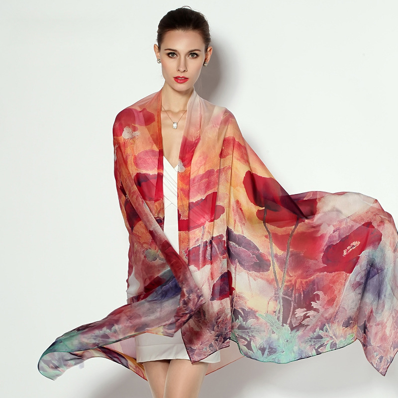 175cm*110cm Spring style floral printed 100% silk long scarves women natural scarf shawl pashmina FW216