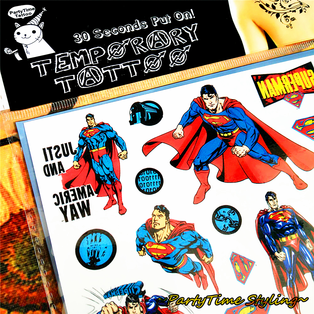Superman temporary tattoos promotion shop for promotional for Superhero temporary tattoos