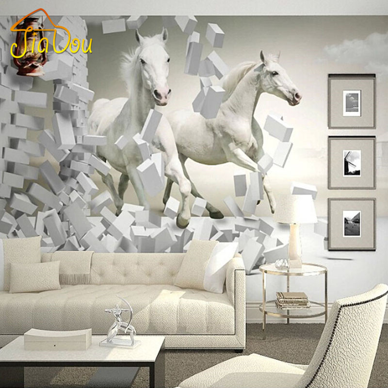Home improvement 3d white horse wall murals wallpaper 3d for Wallpaper home improvement questions
