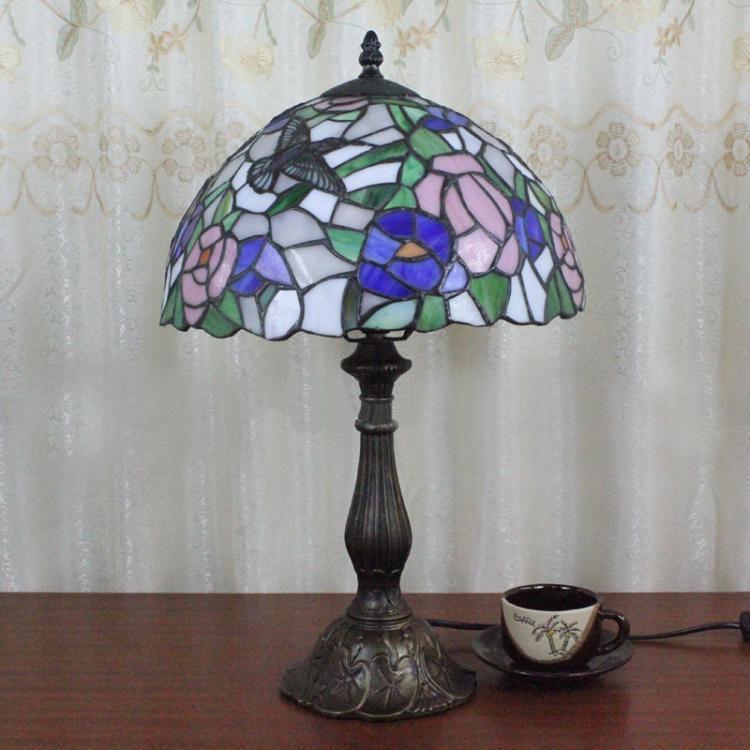 Rose Tiffany Lamp European Vintage Cafe Bar Rose Desk Lamp Bedroom Living Room Rose Tiffany Table Lamp Dia30cm(China (Mainland))