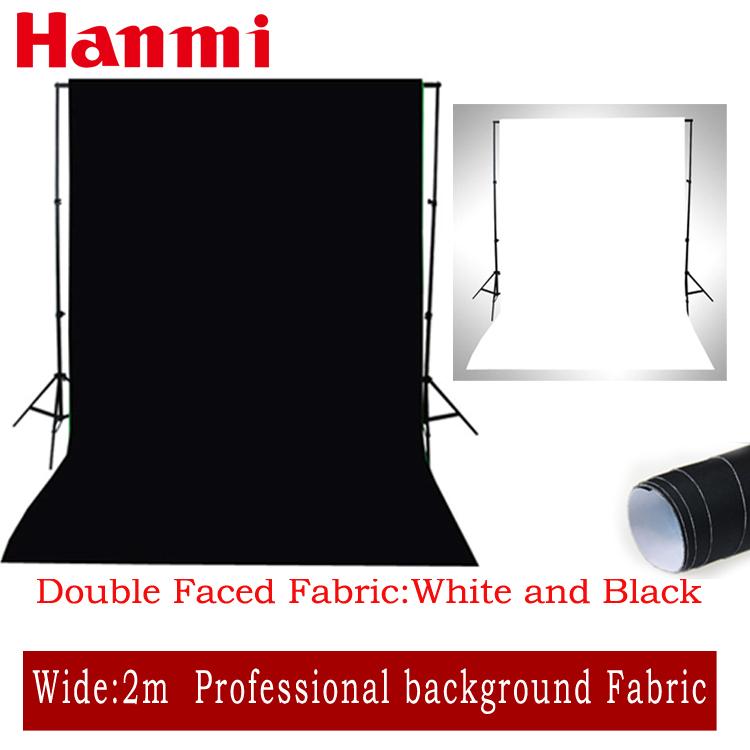 Hanmi Double Faced Fabric White,Black Width 2M Photo lighting studio Cotton Chromakey screen Muslin background cloth backdrop(China (Mainland))