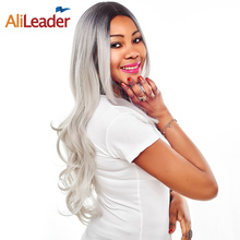 Buy AliLeader Product Two Tone Black Grey Ombre Wigs Women, Synthetic Body Wave Long Hair Wig 26 Inch 150% Density Non Lace for $15.99 in AliExpress store