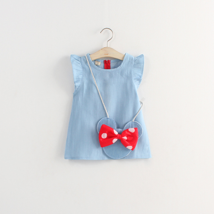 2015 summer style girl dress Korean version Minnie Mouse bow satchel soft denim short-sleeve dress brief paragraph kids clothes(China (Mainland))