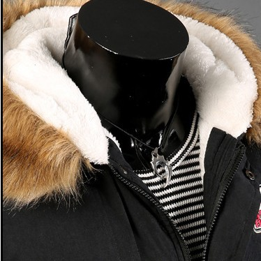 2015 new winter men cashmere hooded coat collar warm coat padded parkas fashion men coat jacket