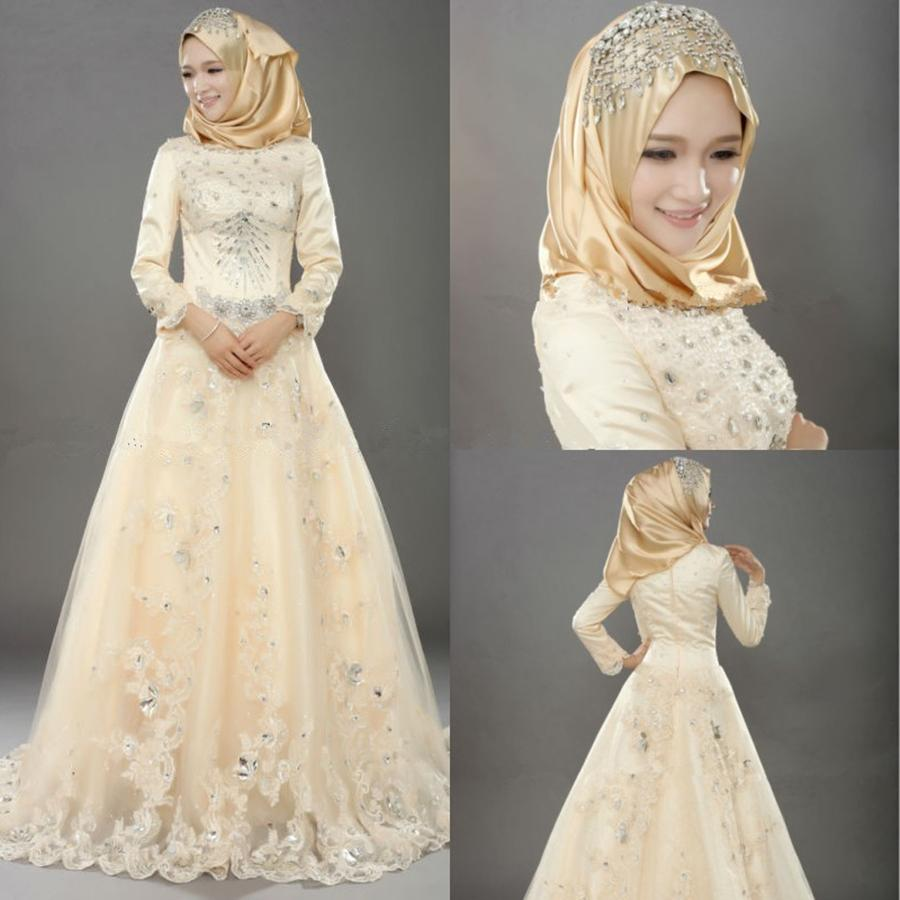 Muslim wedding dresses indian style vintage bridal dresses for Long sleeve indian wedding dresses