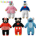 0 18Months Spring Autumn Newborn Rompers Infant Boys Girls Clothes Cartoon Cute Hooded Jumpsuits Baby Costumes