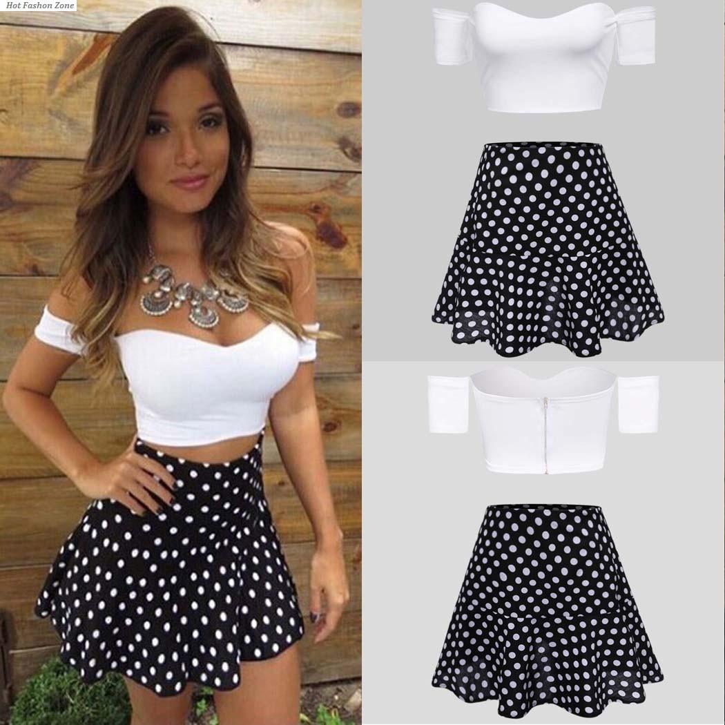 Original 2 Piece Set Women White Top And Suspender Skirt Chiffon