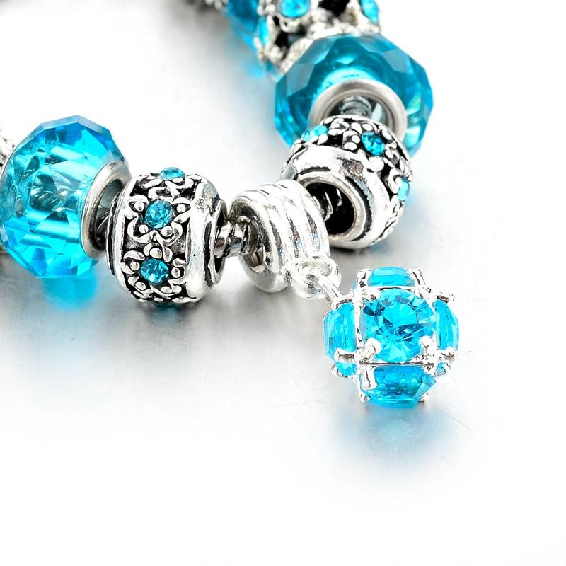 Present!!! 925 Silver Coronary heart Appeal Bracelets & Bangles Crystal&Glass Beads Bracelets For Ladies Pulsera DIY Jewelry SBR160010