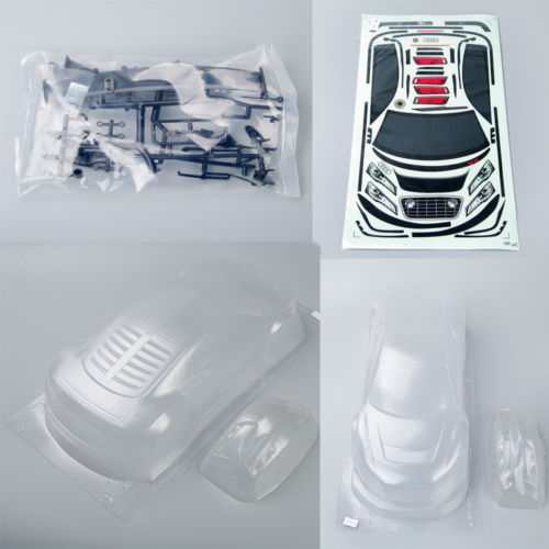 RC Car Parts And Accessories 195mm 1:10 On-Road Drift Car BODY SHELL Transparent PC201218 for AUDI R8 Model Car Free Shipping(China (Mainland))