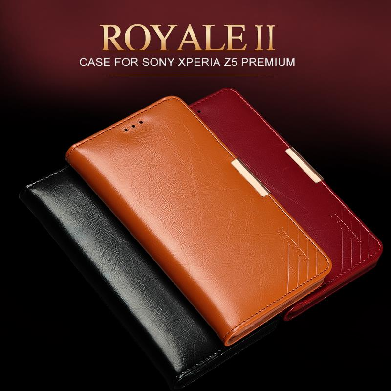 New For Sony Xperia z5 Premium Case Genuine Leather Cover For Sony Xperia z5 Premium (Z5+) Book Style Flip Leather Stand Case