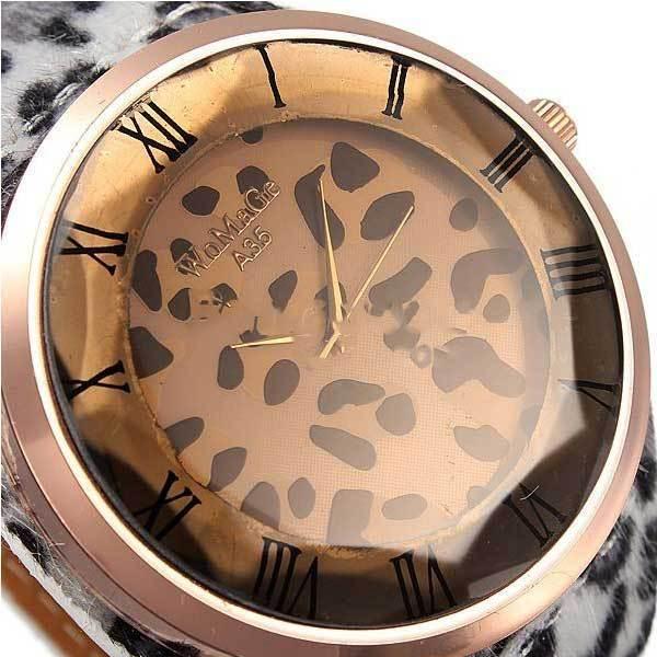 Flaxton Fashion Women Sexy Leopard Brilliant Crystal Fur Big Wrist Watch(China (Mainland))