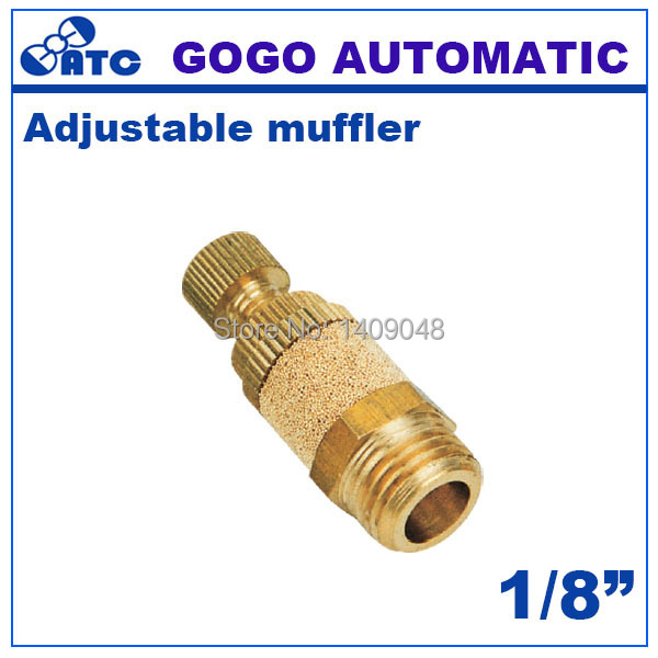 GOGO 10pcs a lot brass adjustable muffler exhaust valve 1/8 inch pneumatic throttle silencer PSB-01 for solenoid valve connector(China (Mainland))