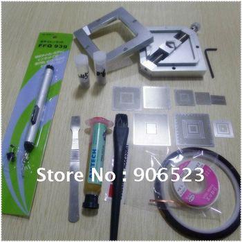 free shipping 90mm reball station with stencils + solder balls + vacuum suck pen for ps3 xbox bga reballing kit