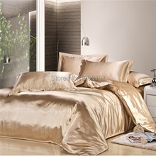 2015 new arrive silk Bedding set home textile imitated silk bed linen set clothing of bed bedcloth soft silky bedding Queen&King(China (Mainland))