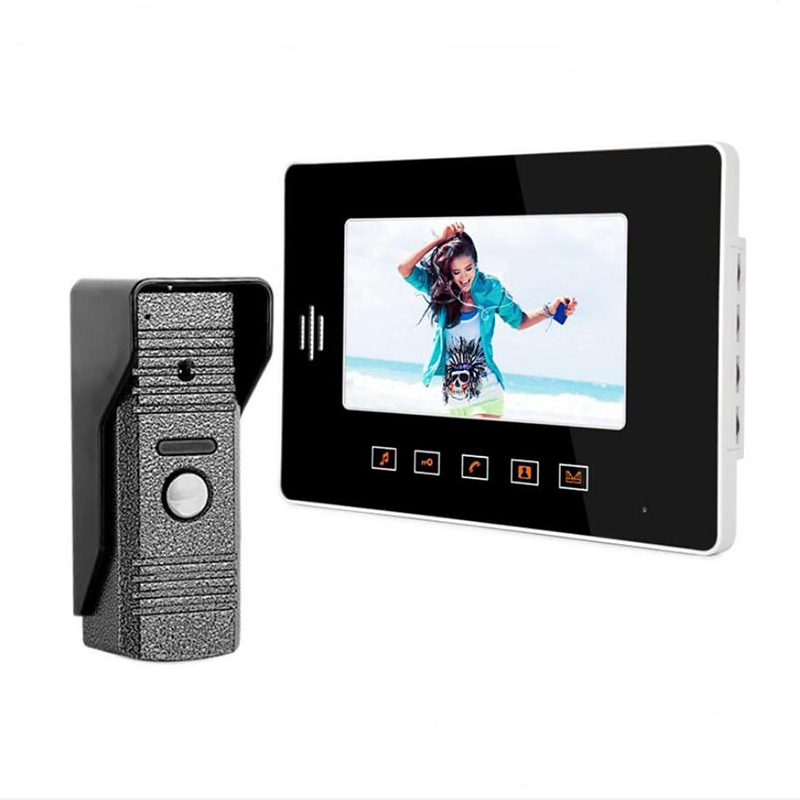 Fashionable Touch Buttons 7 Inch Color LCD Video Door Phone Intercom System Door Release Unlock Doorbell Camera(China (Mainland))