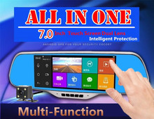 "7.0"" Touch Screen Android 4.4 ROM 16G Full HD Dash Cam Car DVR Camera Video Registrator Radar Detector Rearview Mirror Dual Lens(China (Mainland))"